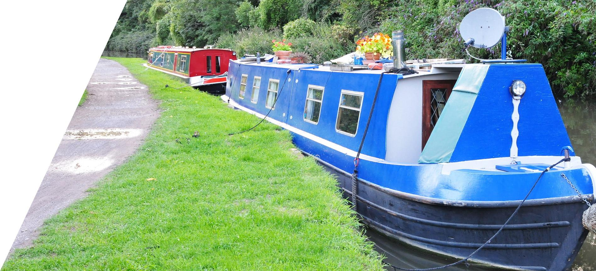 houseboats moored at canal edge