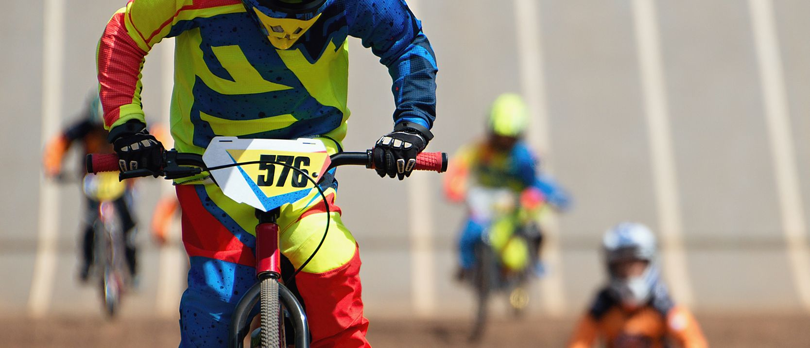 BMX race showing four riders